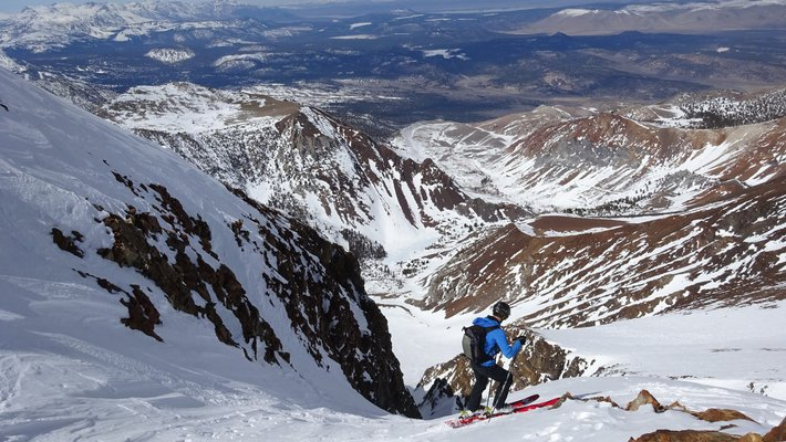View over the Sierra mountains and down the couloir.