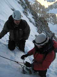 Using a prusik to ascend a fixed line on Mount Whitney's Mountaineer's Route, from Winter Mountaineering Trip 2011