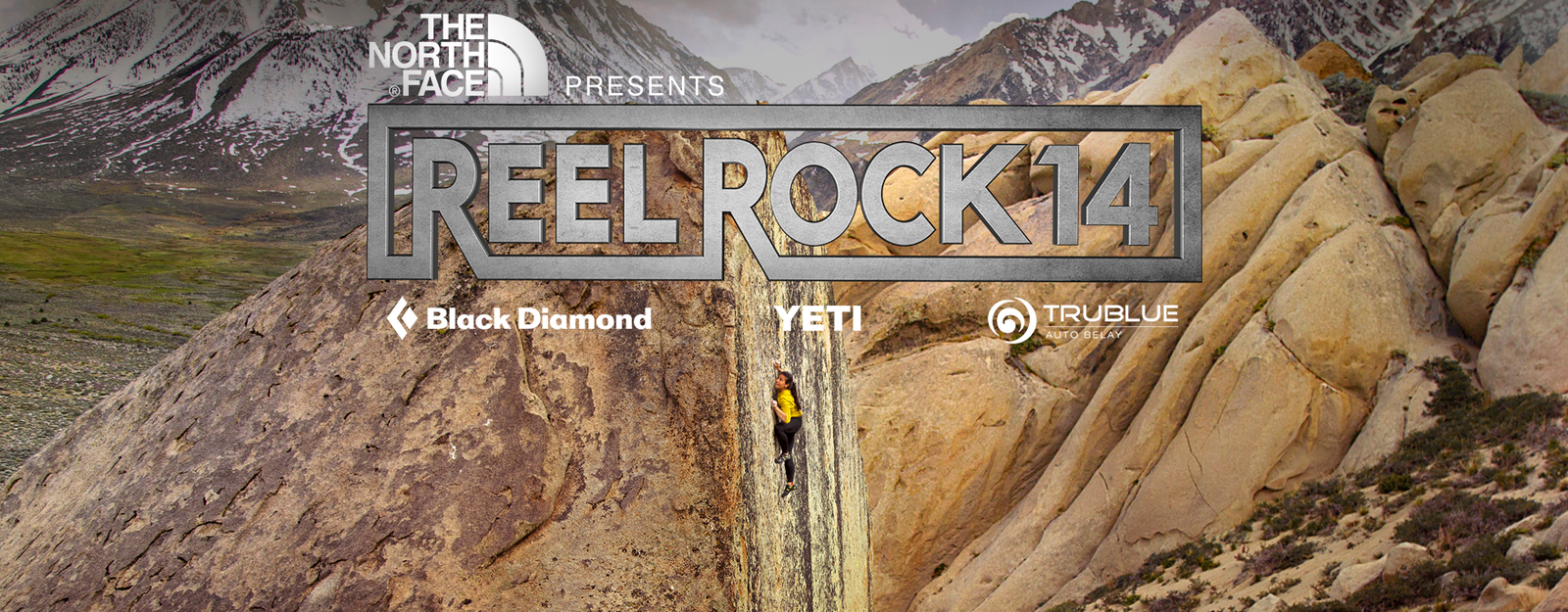Nina Williams boulders a high ball in Bishop, CA, as the background to the Reel Rock 14 title (The North Face presents: Reel Rock 14. Sponsors: Black Diamond, Yeti, TruBlue Autobelay)