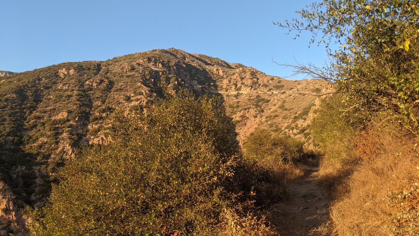 View of a path up a mountainside through dry brushes. Blue skies.