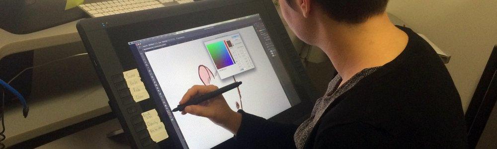 Gina N. illustrating on Cintiq