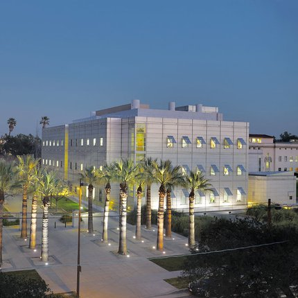 Broad Center Building at night