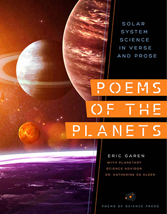 book cover for poems of the planets, which shows planets in the solar system