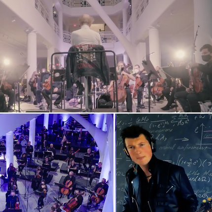 three pictures: the top of a conductor from behind, the bottom left an orchestra, and bottom right a man with a guitar