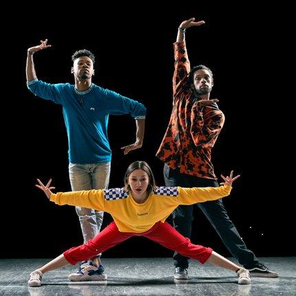 three dancers from Versa-Style Dance Company