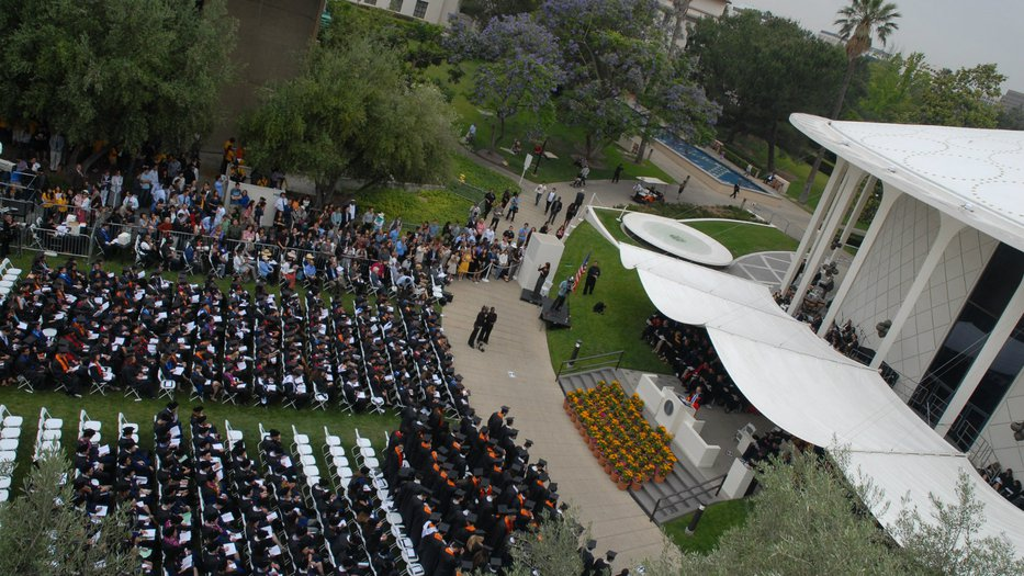 Beckman Mall set up for Commencement