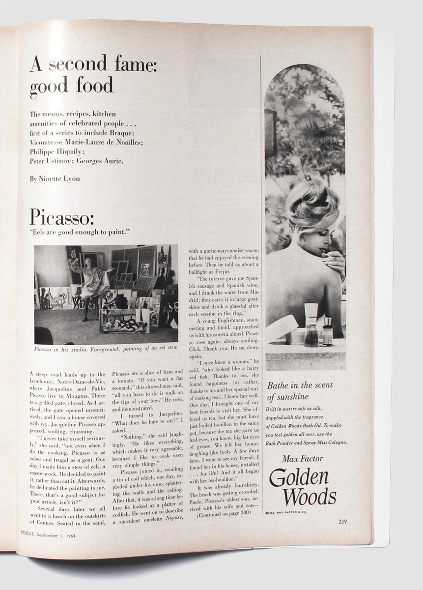 picture of a vintage issue of Vogue magazine, with some of Picasso's favorite recipes