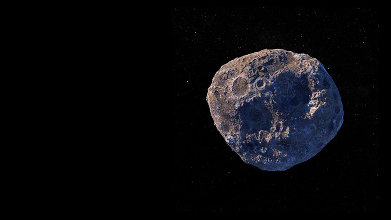 Image of asteroid Psyche against the black backdrop of space
