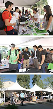 3 photos of people talking to each other at a Techfest event.