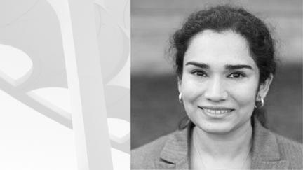 Black and white headshot portrait of Maryam Ali