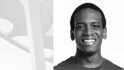Black and white headshot portrait of Mason Smith