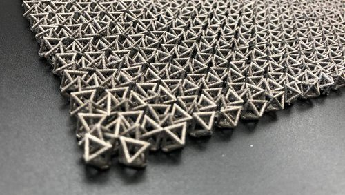 A material made from linked octahedrons.