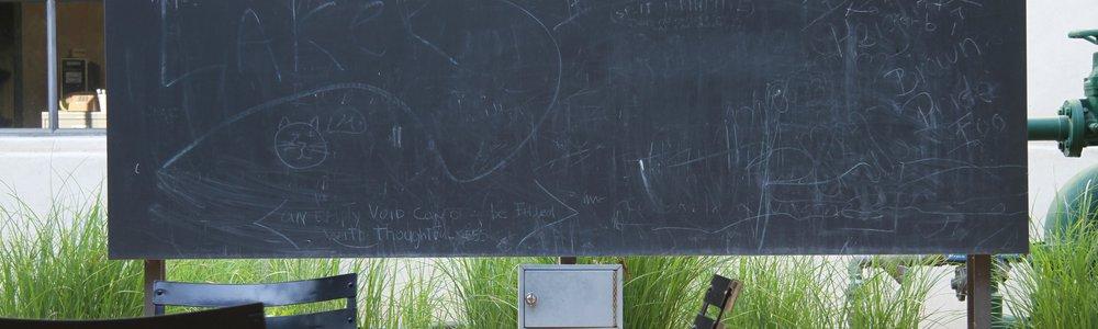An outdoor chalkboard at Caltech