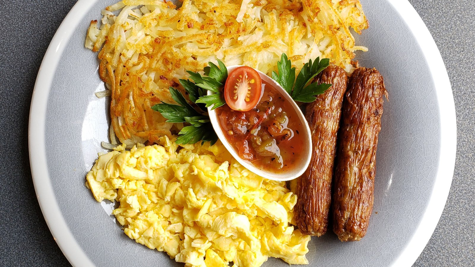 Scrambled eggs, sausage, hash browns