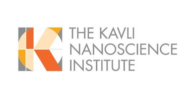 "KNI Logo: Grey square with a white circle and a capital K comprised of orange, peach and red rectangles alongside grey text ""The Kavli Nanoscience Institute"""