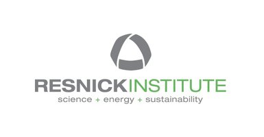 "Resnick logo: Grey rounded triangle shape, ""Resnick written in grey"", ""Institute"" written in green, underneath the text ""science + energy + sustainability"" text is grey, ""+"" are green."