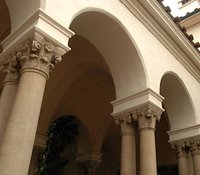 Exterior archways and pillars
