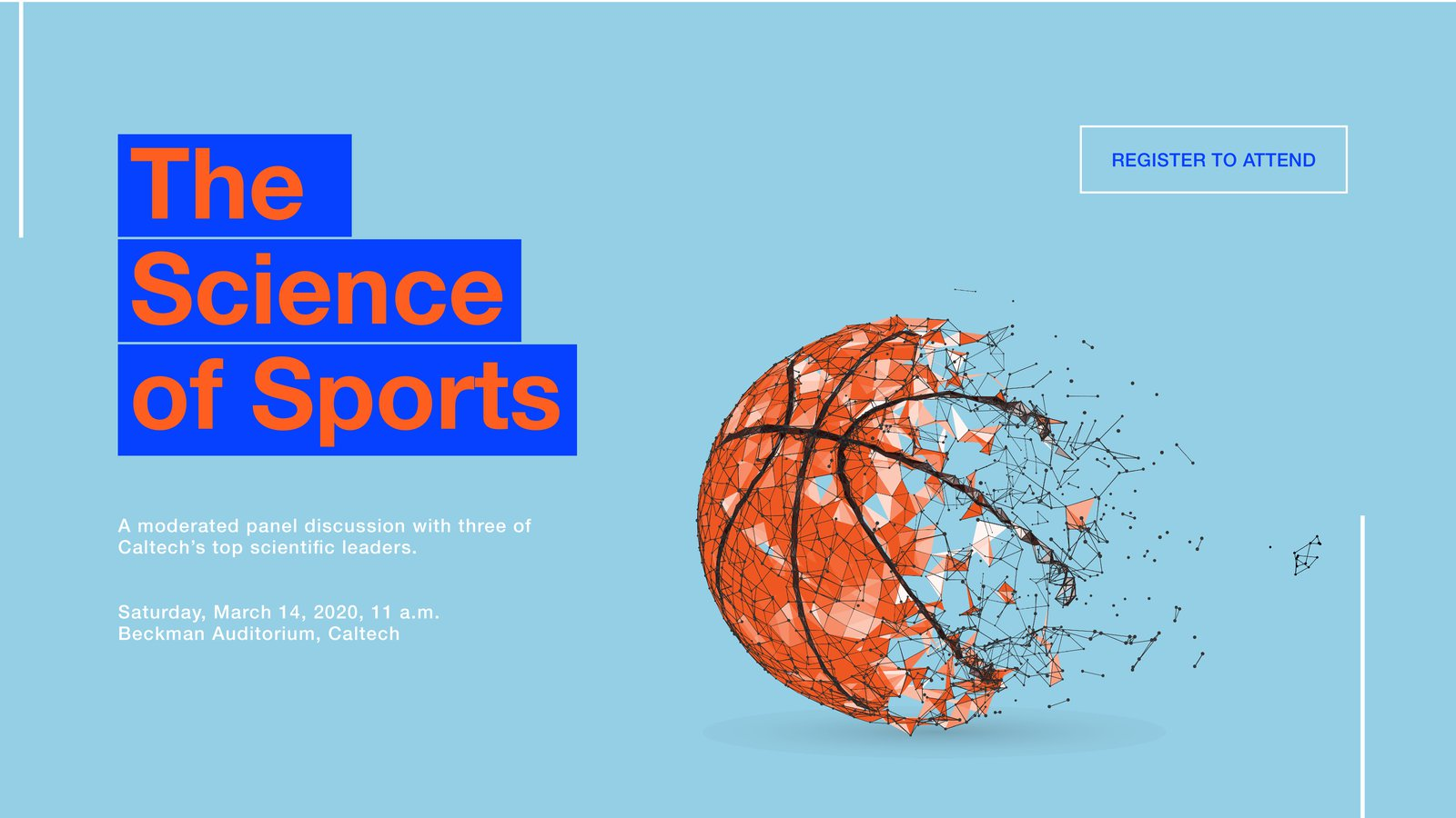 "Graphic advertising the event's keynote panel discussion on ""The Science of Sports"""