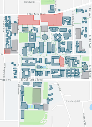 campus map showing four construction zones