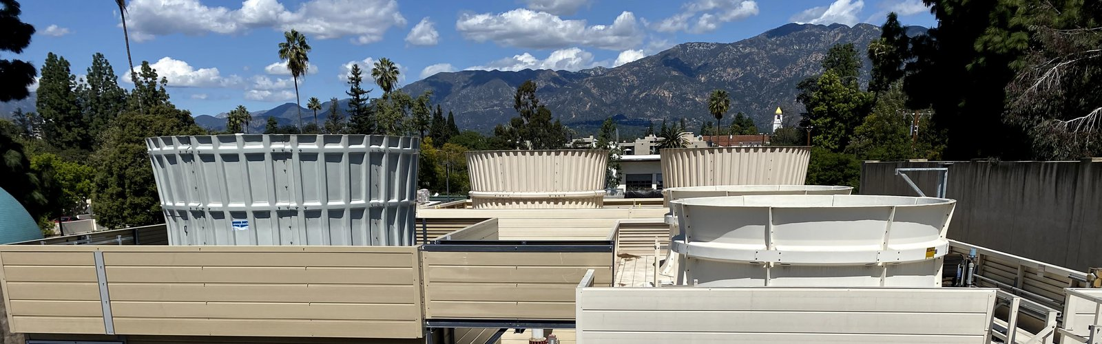 Utility plant under construction on Caltech campus at the foothills of the San Gabriel mountains