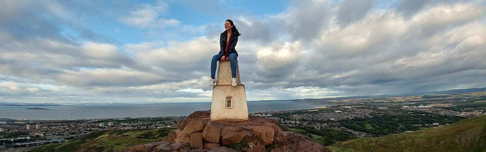 Hye Joon Lee on the top of Arthur's Seat in Edinburgh.