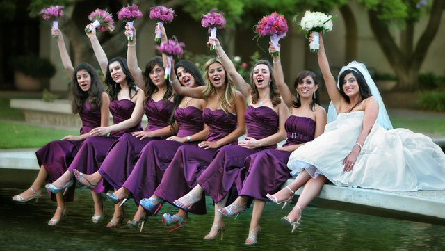 bridge over Millikan Pond with bridal party