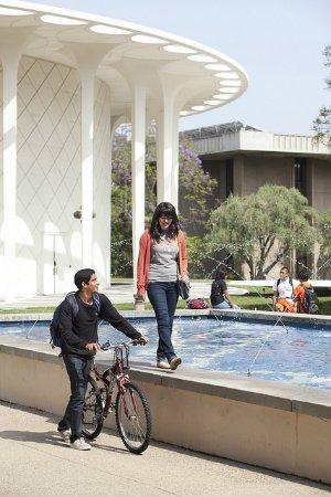 Students walking alongside the Gene Pool