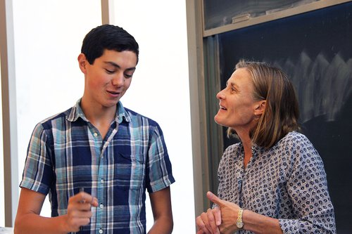 Prof. Melany Hunt (MCE) with a student