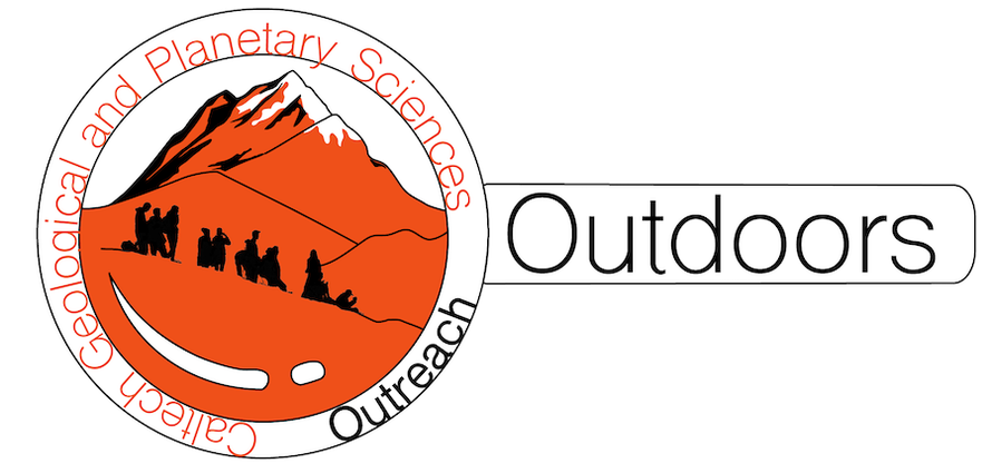 Logo of Caltech GPS Outreach – Outdoors, with orange mountains with black silhouettes of students learning.