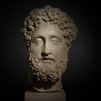Marble head from a statue of the Emperor Commodus.