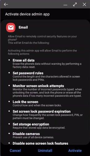 alumni android settings