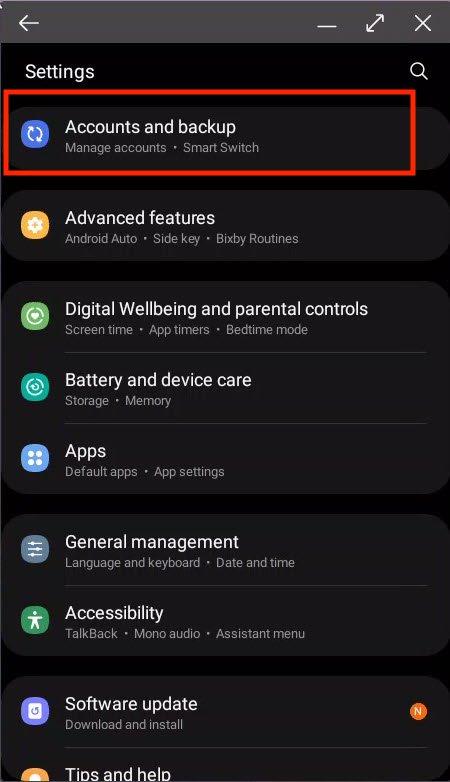 android accounts and backup