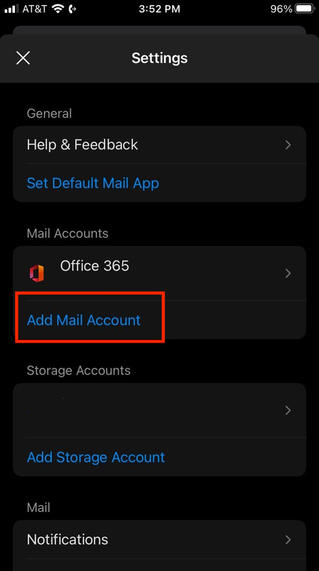 apple outlook mobile add account screen