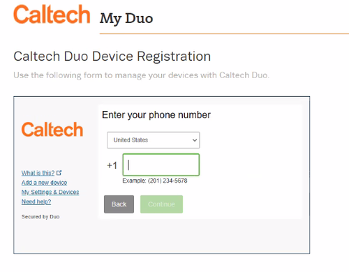 duo device registration screen