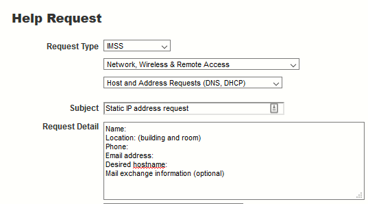 Help Request format for Static IP Address