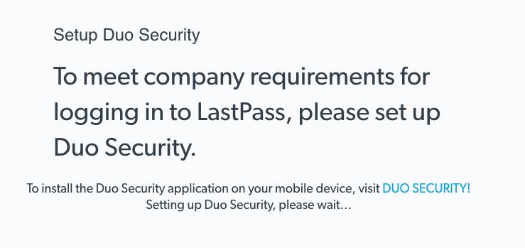 LastPass Duo set up