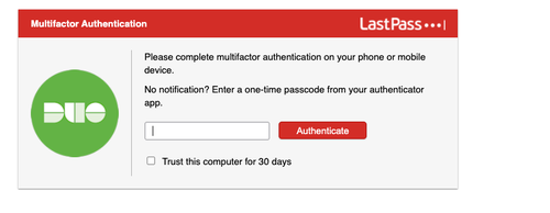 LastPass Duo authentication