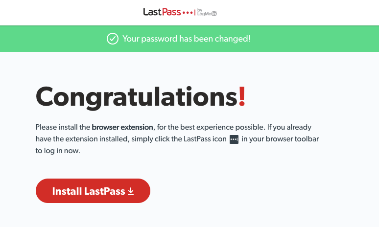 lastPass congratulations window, button to install lastpass