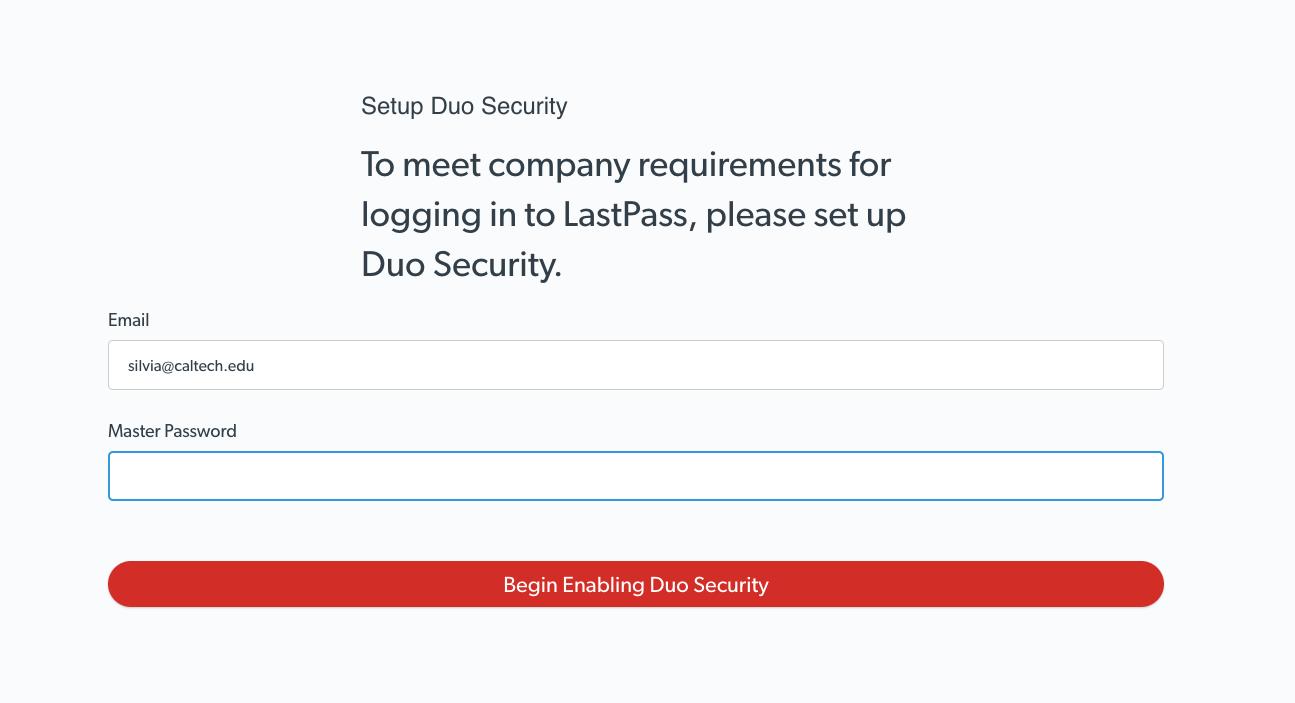 LastPass Duo log in prompt