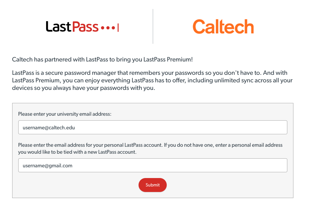 LastPass Premium setup enter Caltech and personal emails