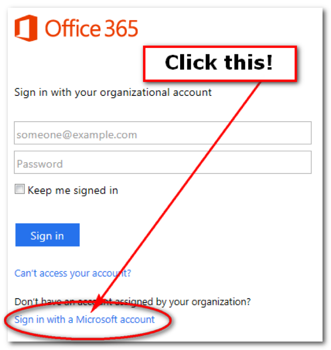 Office365 Click this
