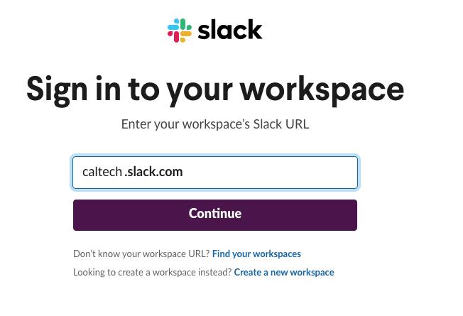 Slack login page