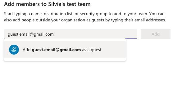 Teams Add Guest member