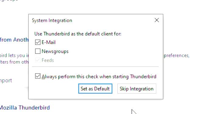 thunderbird set as default