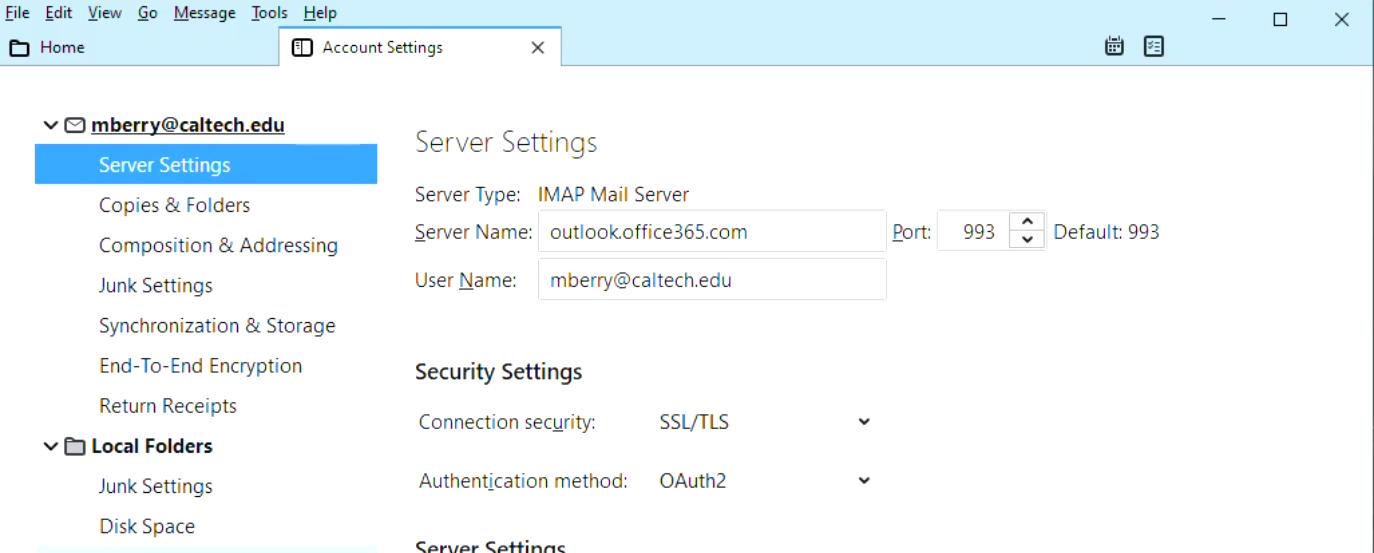 thunderbird server settings, reconfiguration