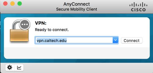 VPN client log in screen