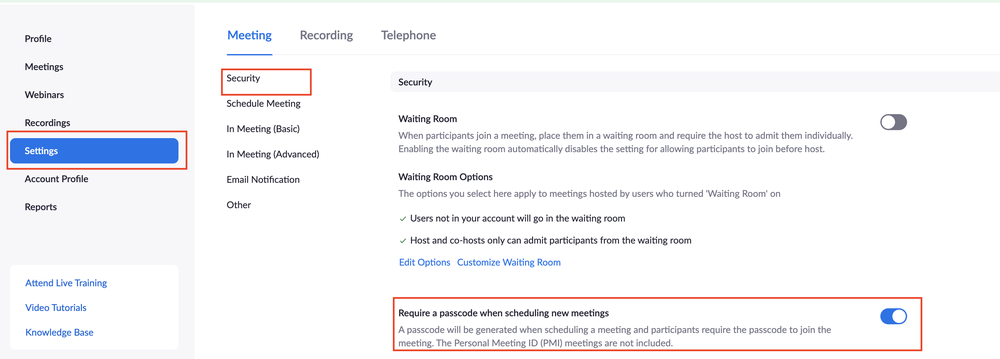 zoom meeting passcode settings