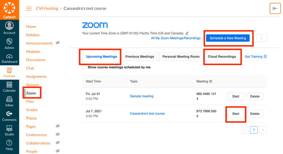canvas zoom integration options for upcoming meetings, cloud recordings and start meeting highlighted