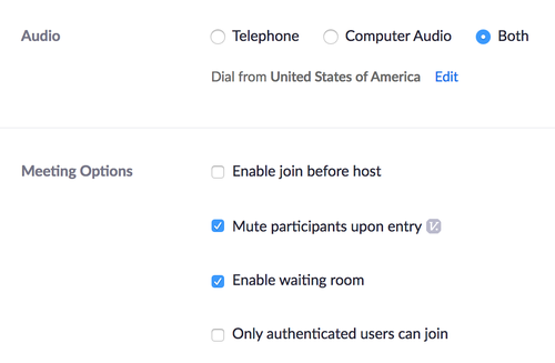 zoom meeting options settings