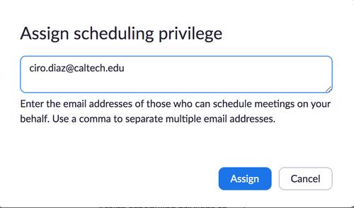 zoom scheduling privilege settings